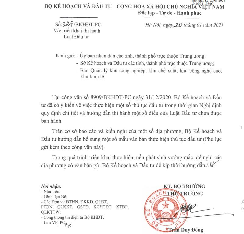 Công văn 324/BKHĐT-PC về việc triển khai thi hành luật đầu tư